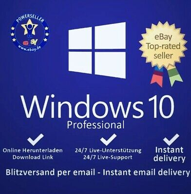 Microsoft Windows 10 Pro Professional Key Vollversion Code 32 & 64 Bit Product