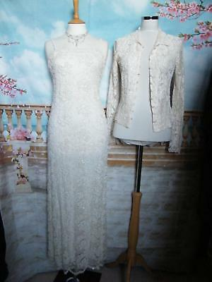 PHASE EIGHT Dress/Ballgown &Shrug size 8 Beaded Lace Wedding Evening 1920s Prom