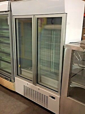 Upright Double Door Freezer Commercial Refrigeration Fridge White