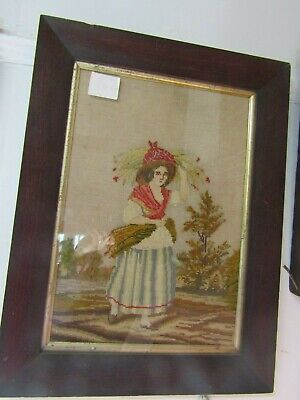 Pretty Antique French Tapestry Wool Needlework Picture Orig Rosewood  Frame
