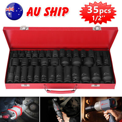 "35pcs 1/2"" Drive Deep Impact Socket Tool Set Garage Workshop Metric Tools 8-32MM"