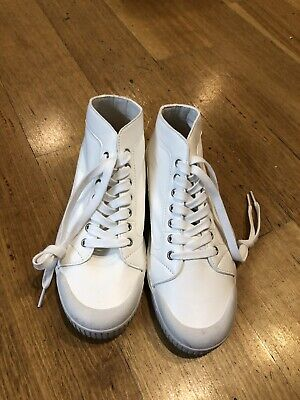 Spring Court White Lambskin Sneakers, Size 40, Brand New