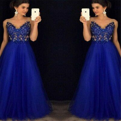 Sequined Beaded V-neck Sleeveless Lace Women Ball Gown Long Party Dress