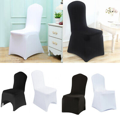 50-100Pcs White Black Chairs Covers Lycra Elastic Wedding Banquet Chair Cover UK