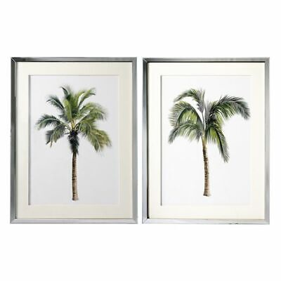 NEW OneWorld Collection Palm Art Print in Mirror Frame (Set of 2)