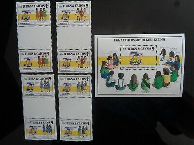 TURKS & CAICOS 1985 GIRL GUIDES 75th ANNIVERSARY SET 4v GUTTER PAIRS & M/S MNH