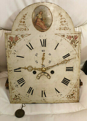 8 Day Longcase/Grandfather Clock Painted Arched Dial Movement-No Reserve!