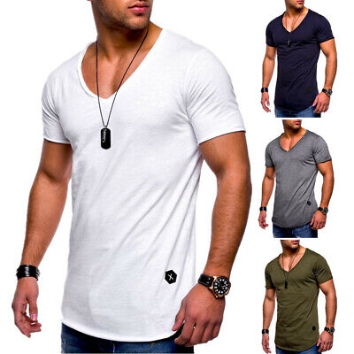 Mens V Neck Muscle T Shirt Short Sleeve Summer Slim Fit Gym Casual Tops Tee