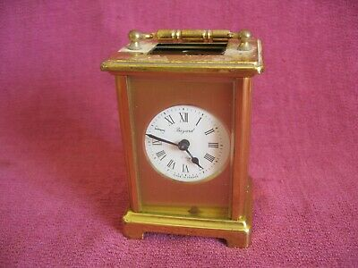 Vintage Bayard Brass & Glass Cased 8 Day Carriage Mantle Clock - Spares Repair