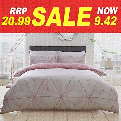 Double & King Size Grey/Pink/Black Printed Duvet Cover Bedding With Pillow Case