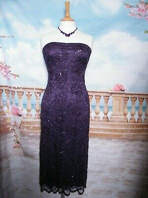 PHASE EIGHT Dress size 8/10 Bead&Sequin Purple Lace Evening/Gatsby 20s Flapper