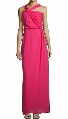 NWT New Poppy Pink Parker Selena Asymmetrical Maxi Party Dress Gown 2 Fits 4 XS