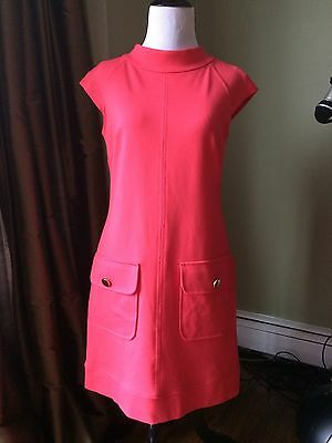 EUC Cynthia Steffe Bright Coral Mod Mock Neck Ponte Shift Dress Retro 2 XS
