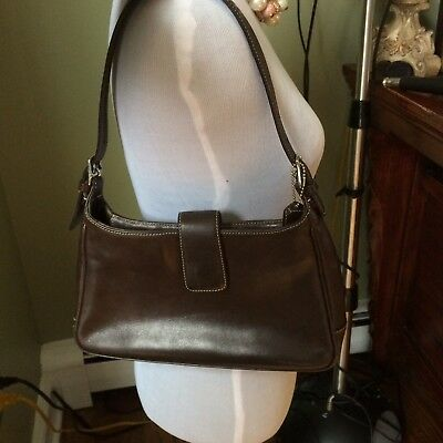 Coach Dark Brown Genuine Leather Handbag Purse Medium