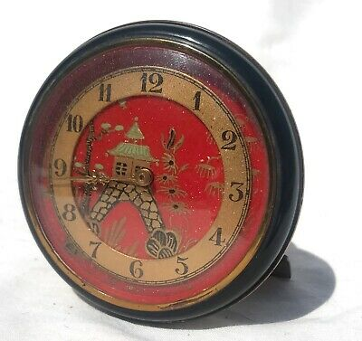 Beautiful Miniature Round Chinoiserie Strut / Easel Clock