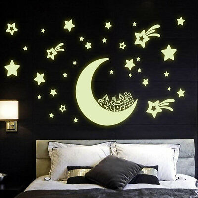 Glow In The Dark Moon Removable Decal Wall Stickers Living Room Bedroom SO