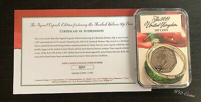 2019 Sherlock Holmes 50p Coin Limited To 250 SIGNED Capsule COA 201