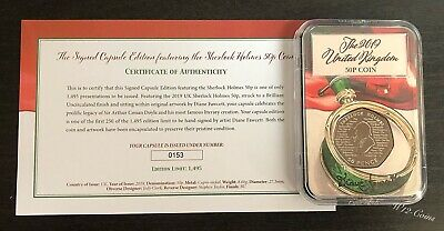 2019 Sherlock Holmes 50p Coin Limited To 250 SIGNED Capsule COA 153