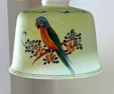 VTG 20s Art Deco Consolidated Glass Handpainted Parrot Lamp Fixture Globe Shade