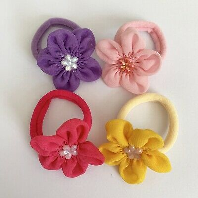 Clibella SALE! 4 Packs Of spring flower Hair Bobbles/girls Accessories/gift