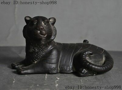 Old Chinese yixing zisha pottery Carved Ferocious Tiger Tigers Animal statue