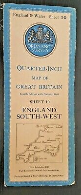 "Ordnance Survey Cloth ""Quarter-Inch"" Map. Sheet No.10 ENGLAND SOUTH-WEST"