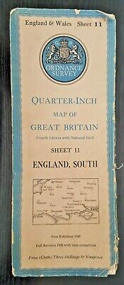 "Ordnance Survey Cloth ""Quarter-Inch"" Map. 4th Edition No. 11 ENGLAND SOUTH"