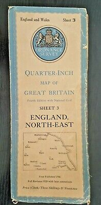 "Ordnance Survey Cloth ""Quarter-Inch"" Map. 4th Edition No. 3 ENGLAND NORTH-EAST"