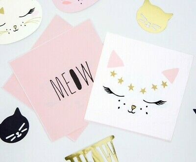 20 x Cute Meow Kitty Cat Paper Party Napkins 33x33cm Birthday Party Pet Event