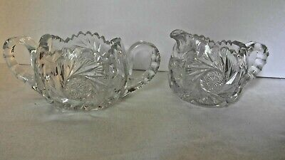 Antique American Brilliant Cut Glass Cream and Sugar Set