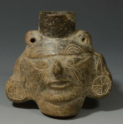Pre Columbian Peru Lambayeque Blackware Miniature Portrait Head Vessel ca 900 AD