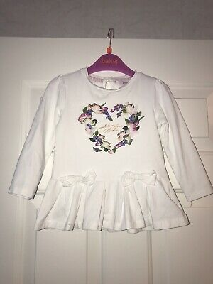 Ted Baker Baby Girls Heart Butterflies Long Sleeve Top White Floral 18-34 Months