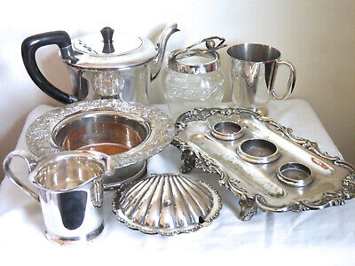 Job Lot Antique Vintage Silver Plated Ink Stand Coaster Tankard Shell Dish etc