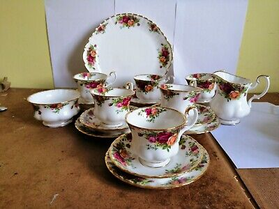 Royal Albert Old Country Roses 21 Piece Tea Set 1St Quality 1962 Backstamp