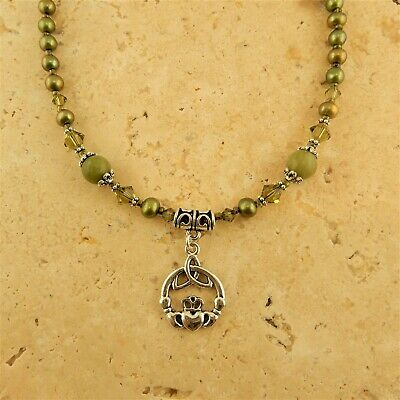 Irish Connemara Marble Claddagh pearl Necklace, Celtic Trinity Knot