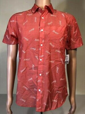 9e45c519 Men's Budweiser All Over Print Pink red white Button Up Shirt (Small) S NEW