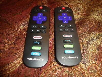 LOT OF 2 GENUINE TCL ROKU TV REMOTE CONTROLS w/ (NETFLIX AMAZON SLING VUDU)