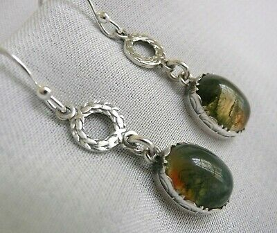 Antique Vintage Scottish Sterling Silver Moss Agate Earrings