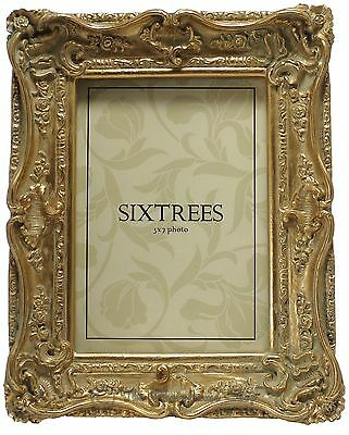 Sixtrees Chelsea Shabby Chic Ornate Swept Vintage Gold 7x5 inch Photo frame