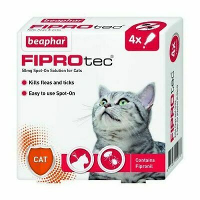 Beaphar Fiprotec Flea & Tick Removal Prevention Spot On Cat 4 Treatment Pack