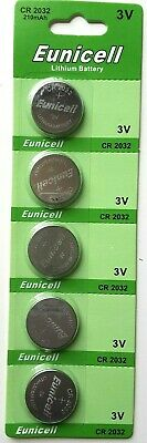 5X EuniCell CR2032, BR2032, DL2032, Fresh Lithium Watch Battery, 3V. Tax Free