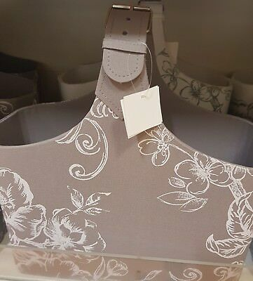 Shabby Chic Grey white Floral Magazine Rack Holder Stand