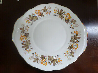 Vintage Royal Vale tabbed Cake Plate yellow / autumn leaves patt no. 8572