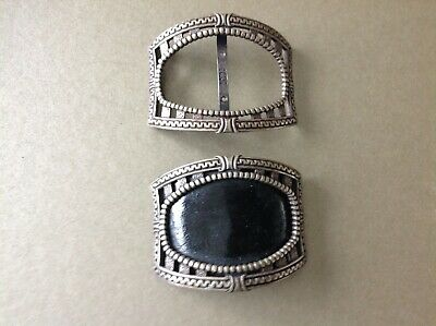 Antique Pair Silver Buckles Swiss Marks