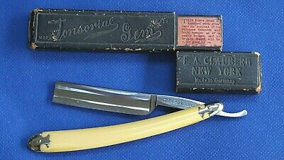 Tonsorial Gem  F A Clauberg New York Straight Razor Fancy Handle Metal Ends Mint