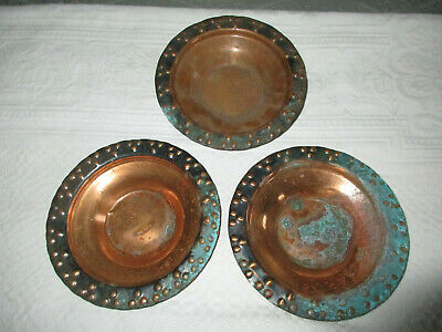 SET 3 ARTS & CRAFTS Hammered Copper Serving BOWLS PLANT TRAYS Stickley Era