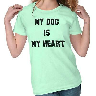 Cute My Dog My Heart Rescue Pet Owner Adopt Animal Lover Ladies Tee Shirt T