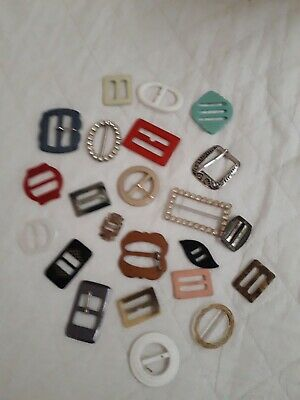 Job Lot of 23 Vintage Buckles Plastic  Metal and Diamonte