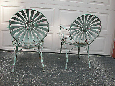 PAIR Vintage FRANCOIS CARRE French Art Deco SUNBURST Metal Garden Patio Chairs