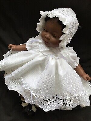 Reborn Doll Dress Set White Embroidery Set. 17-17""